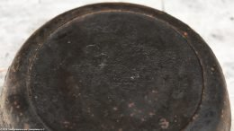 Closeup Of Number 3 On An Unrestored No Notch Lodge 3 Skillet