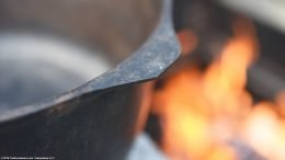 Closeup Of Rim On An Unrestored Lodge Kettle Size 8 Bail Handle