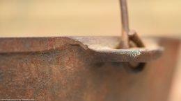 Closeup If Rusty, Unrestored Handle On Wagner Sidney O Scotch Bowl Size 5