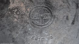 Closeup Unrestored Griswold Erie PA Mark Hinged Deep Double Skillet