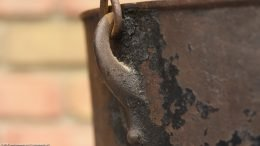 Crust Covered Handle Mount On Gate Mark Bean Pot