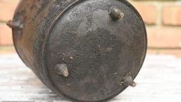 Gate Mark Bean Pot Showing Crusty Bottom