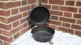 Open Unrestored Griswold Hinged Deep Double Skillet, P/N 1102 & 1103