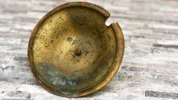 Unpolished Brass Cape Codder Lid Showing Underside