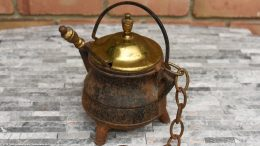 Unrestored Cape Codder With Brass Lid, Wand & Chain